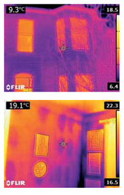 Heat images showing losses through a building's envelope (Christian Vassie)