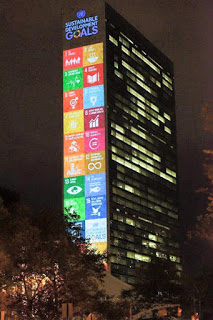 The UN's 17 Sustainable Development Goals projected onto their head quarters