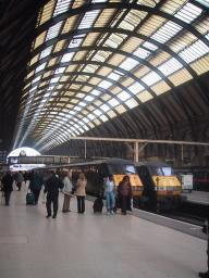 Great North Eastern Railway (GNER) trains on platforms at Kings Cross station, north London.