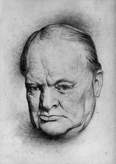 Winston Churchill. Drawing by Lyn Ott in 1942. (The heirs of this work's copyright holder (usually the creator) have released it into the public domain. This applies worldwide.)