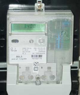 Solid state electricity meter in a home in Holland. (This work has been released into the public domain by its author, Skatebiker. This applies worldwide.)