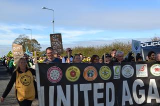 Tim alongside campaigners at Preston New Road