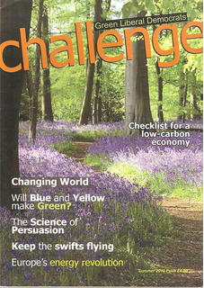 The front cover of the Summer 2010 Challenge Magazine (Green Liberal Democrats)