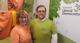 GLD Stall - Linda Johnson + Jason Billins modelling the new T-shirt (Kevin Daws)