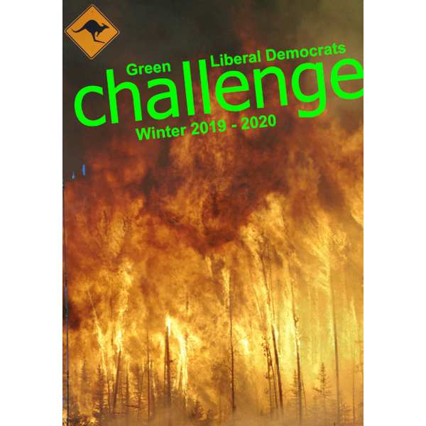 Challenge 2019-20 Front Cover - Green Liberal Democrats' Magazine (Wikimedia and George Miles)