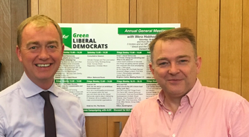 Tim Farron and Graham Neale at GLD stall (Graham Neale)