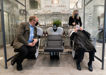 Ed Davey visits Guildford Hair Salon