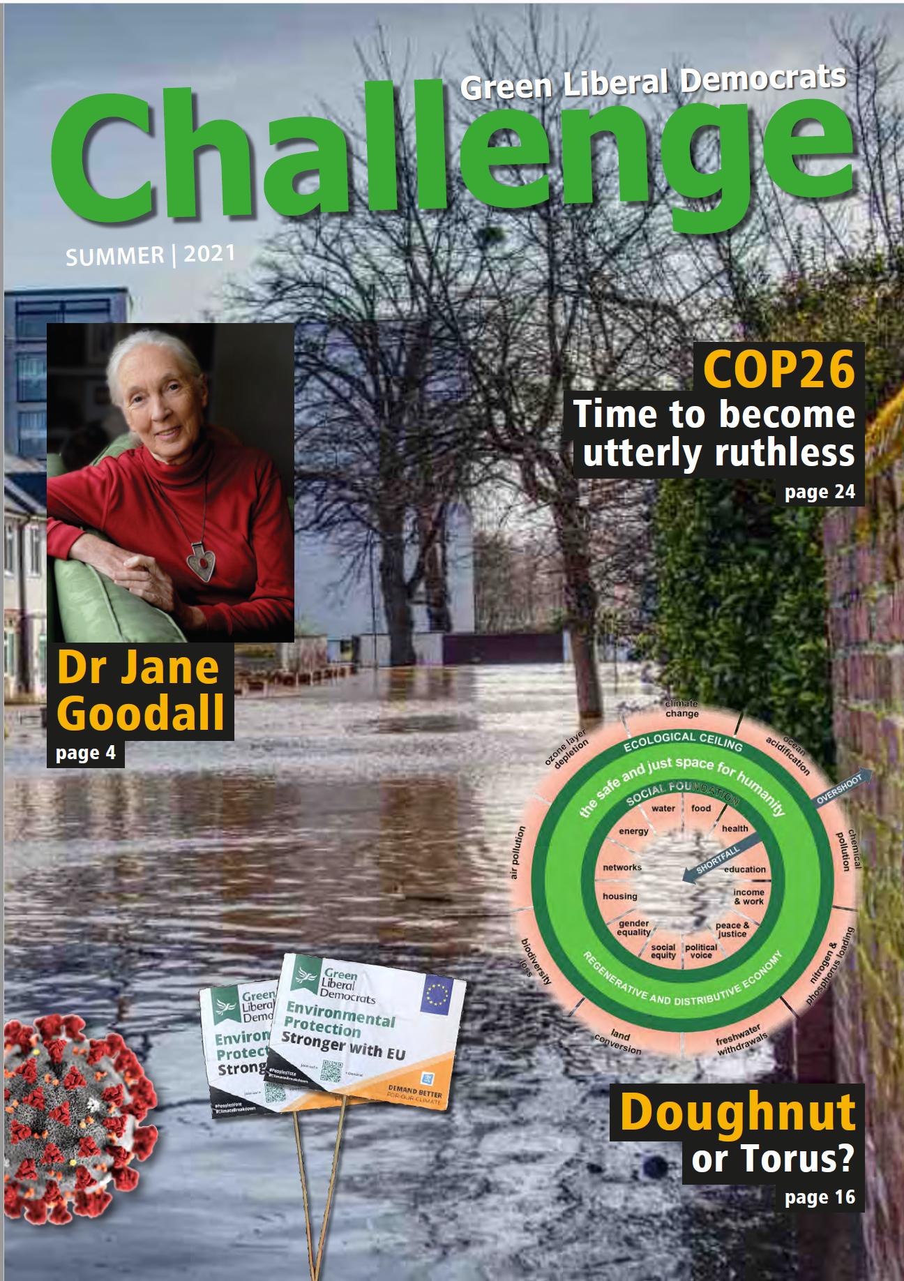 Challenge 2021 front cover - Green Liberal Democrats magazine (Pete Roberts, Gorge Miles, Jason Billin)